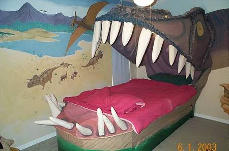I supposed kids won't sleep on this kind of bed. Unless, they love dinos.  Rarrrr